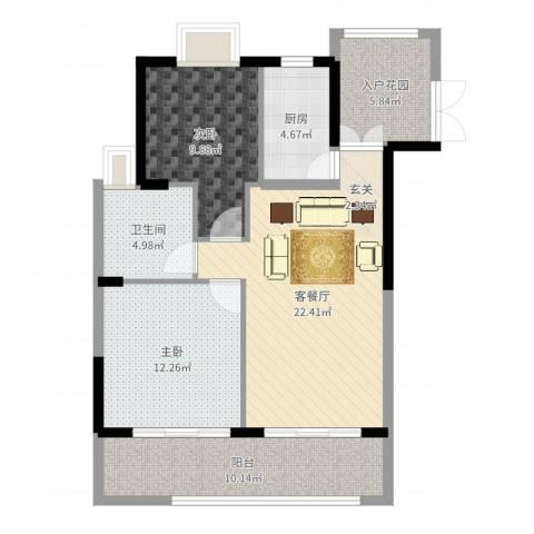 银地绿洲2室2厅1卫1厨87.00㎡户型图