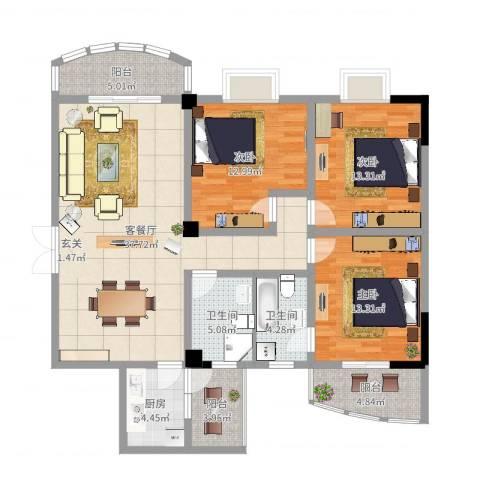 奥克斯中央大厦3室2厅2卫1厨131.00㎡户型图