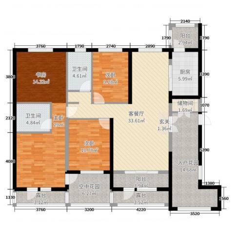 盟科涵舍3室2厅2卫1厨168.00㎡户型图