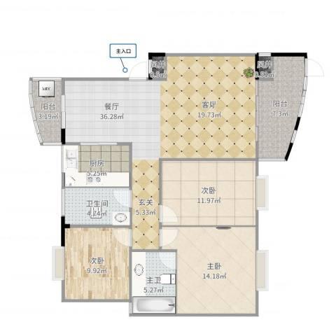 清政园2室1厅1卫1厨111.00㎡户型图