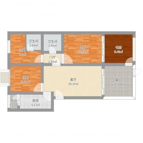 美然绿色家园4室1厅2卫1厨115.00㎡户型图
