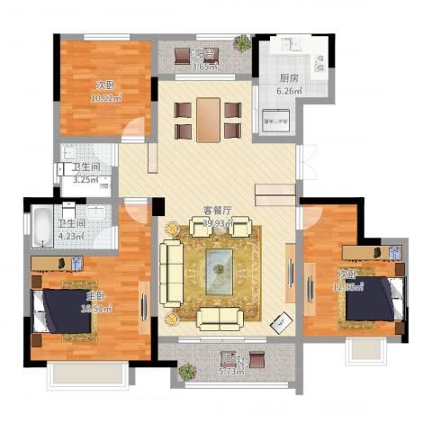 银亿东城3室2厅2卫1厨128.00㎡户型图