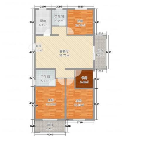 华都・金色兰庭4室2厅2卫1厨141.00㎡户型图