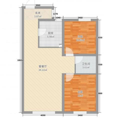 哈尔滨万达城2室2厅1卫1厨108.00㎡户型图