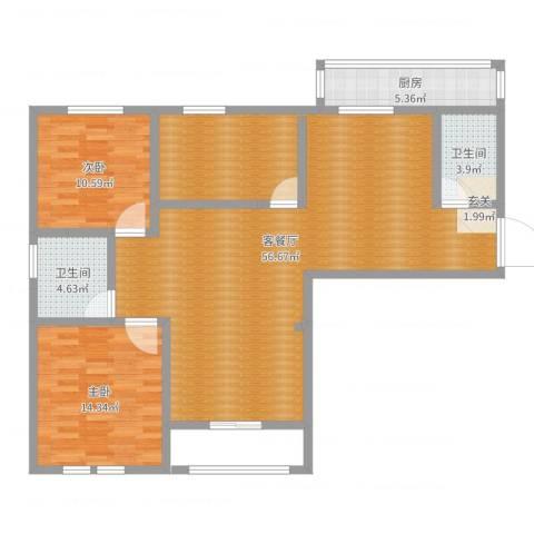 昌和时代2室2厅2卫1厨119.00㎡户型图