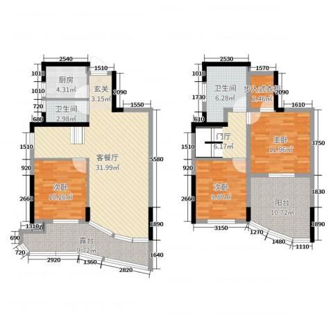圣特立国际花园3室2厅2卫1厨131.00㎡户型图