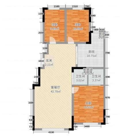 东逸美郡二期3室2厅2卫1厨132.00㎡户型图