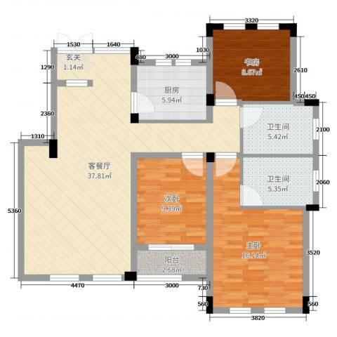 九江国际湾3室2厅2卫1厨114.00㎡户型图