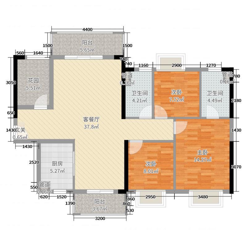 奥园1号123.00㎡2座02单元户型3室3厅2卫1厨