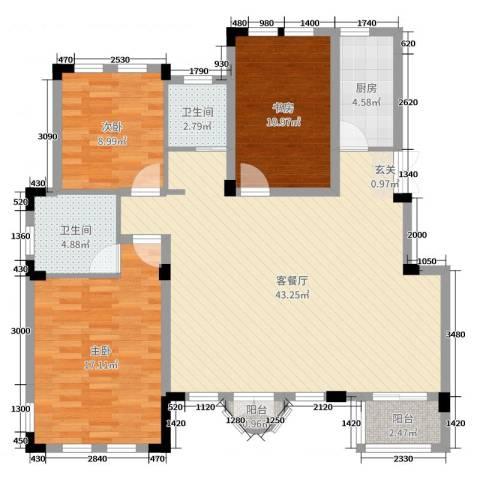 九江国际湾3室2厅2卫1厨120.00㎡户型图