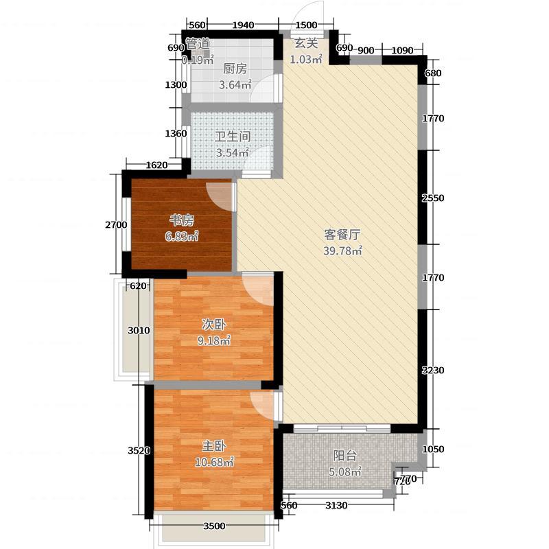 创发城1938104.16㎡3栋B户型3室3厅1卫1厨