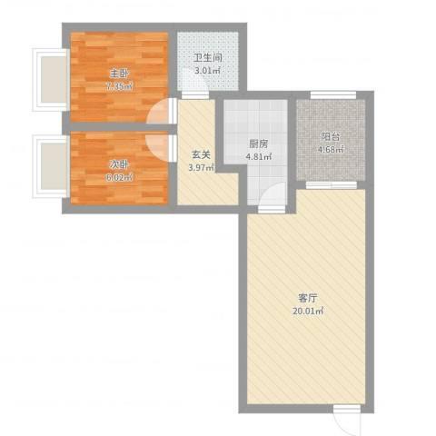 都市花园2室1厅1卫1厨62.00㎡户型图