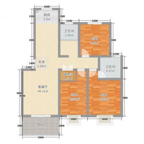 天泽水岸3室2厅2卫0厨115.00㎡户型图