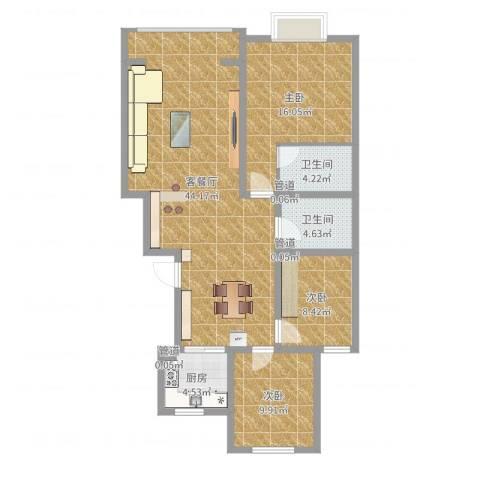 鼎原时代3室2厅2卫1厨115.00㎡户型图