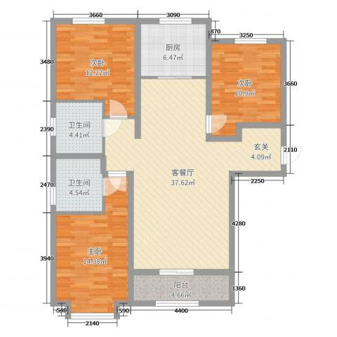 太阳城3室2厅2卫1厨119.00㎡户型图