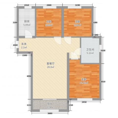 太阳城3室2厅1卫1厨90.00㎡户型图