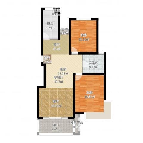 三香新村2室2厅1卫1厨108.00㎡户型图
