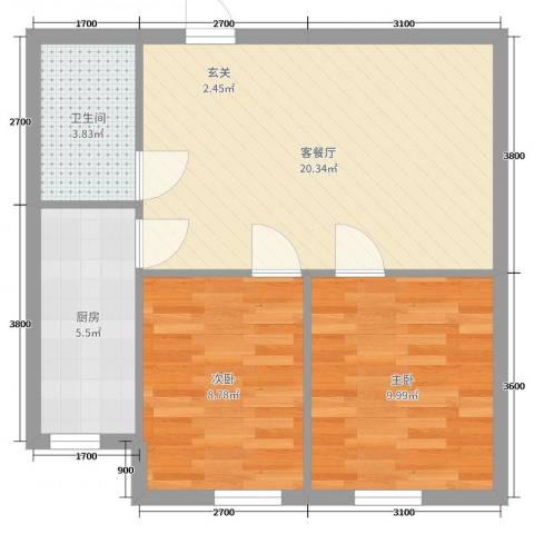 尚品精舍2室2厅1卫1厨73.00㎡户型图
