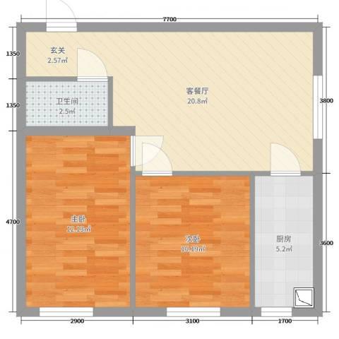 尚品精舍2室2厅1卫1厨77.00㎡户型图