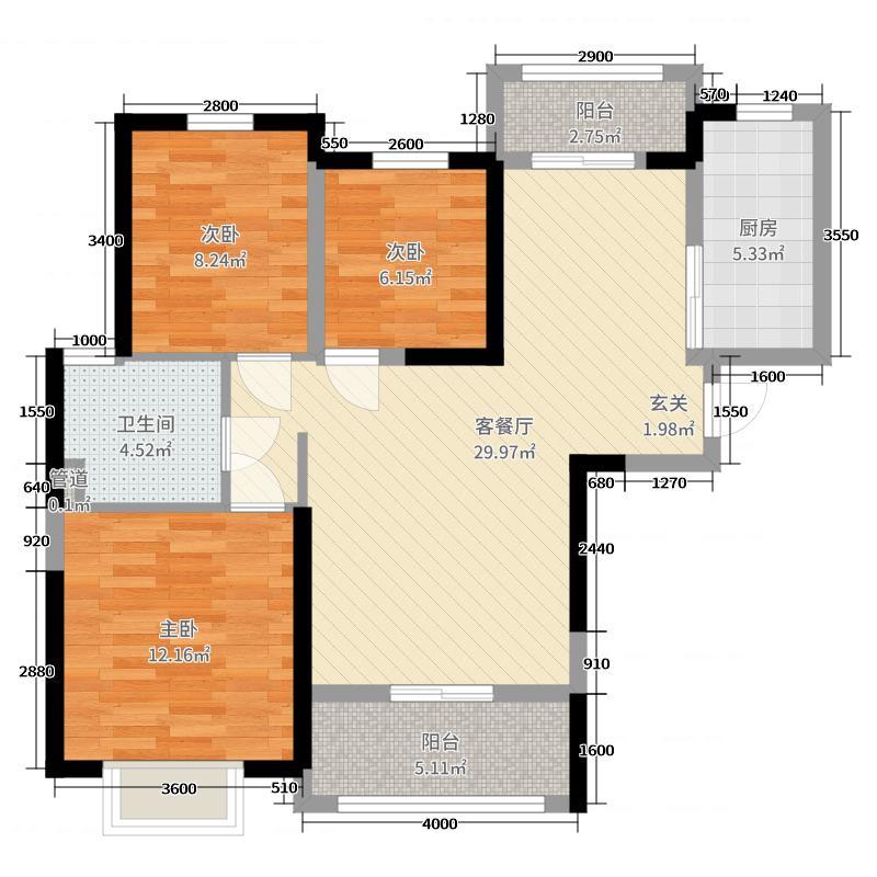 恒大新城106.67㎡二期18号楼标准层4户型3室3厅1卫1厨