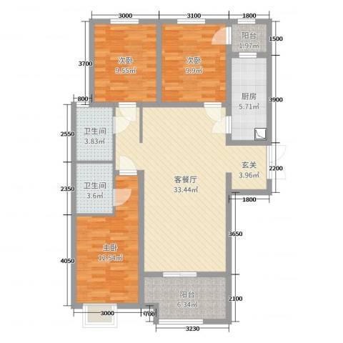 百岛绿城3室2厅2卫1厨132.00㎡户型图