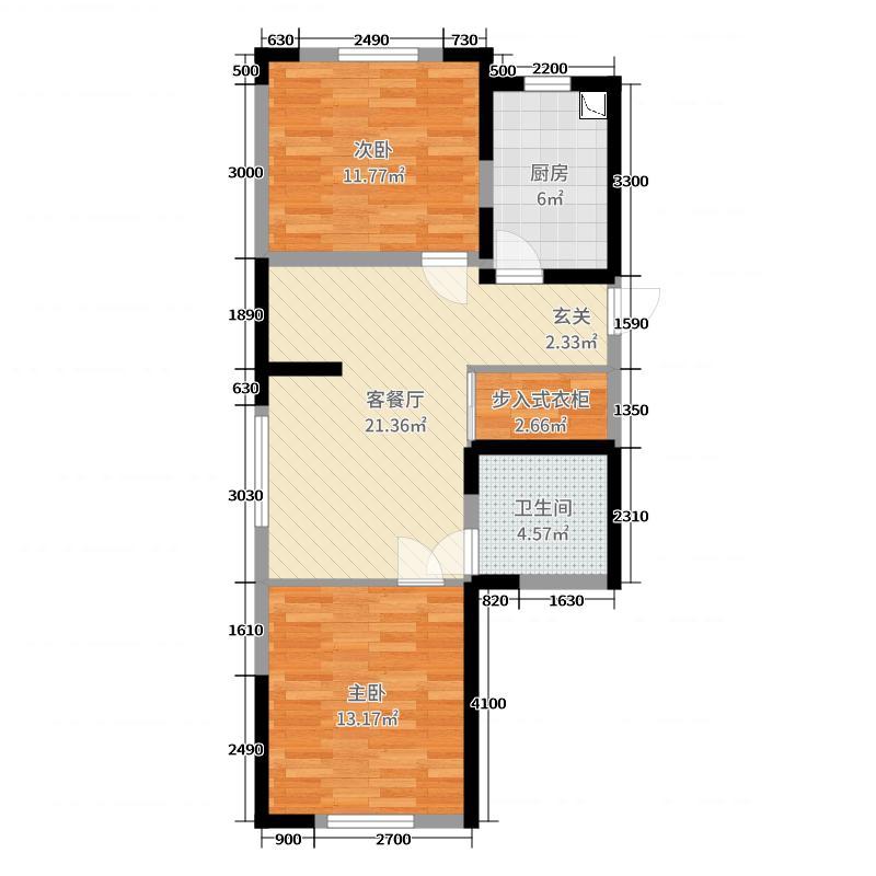 筑石松花江智慧新城85.73㎡一期标准层A5-1户型2室2厅1卫1厨