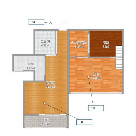 东方顺景2室2厅1卫1厨78.00㎡户型图