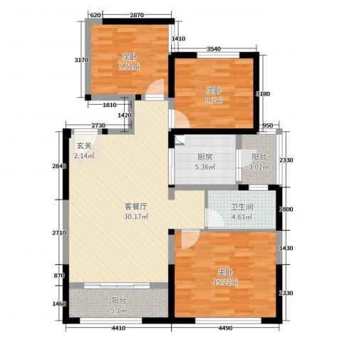 中铁・缇香郡3室2厅1卫1厨87.00㎡户型图