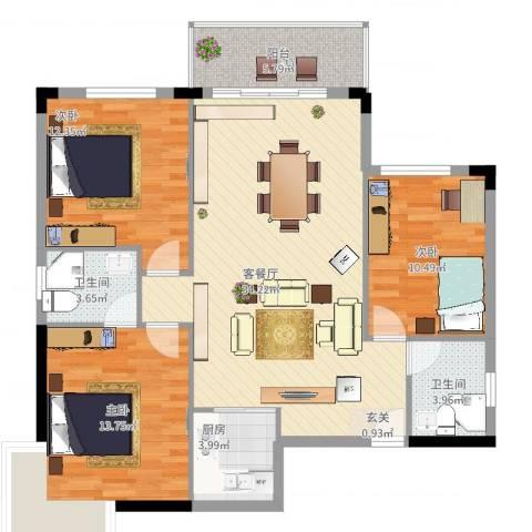梦园小区3室2厅2卫1厨122.00㎡户型图