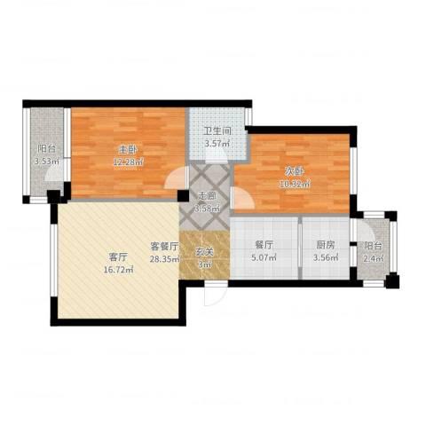 天源秀景2室2厅1卫1厨80.00㎡户型图