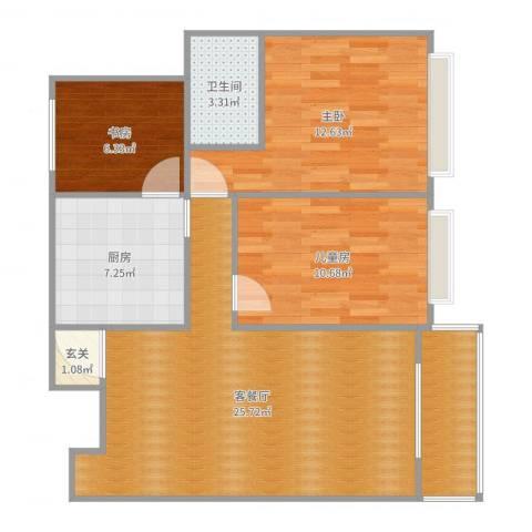 地铁万科时代广场乐先生3室2厅1卫1厨89.00㎡户型图
