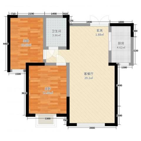 盛达国际新城二期2室2厅1卫1厨89.00㎡户型图