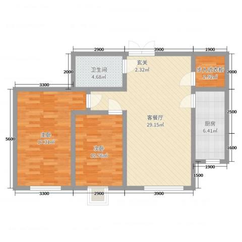 盛达国际新城二期2室2厅1卫1厨100.00㎡户型图