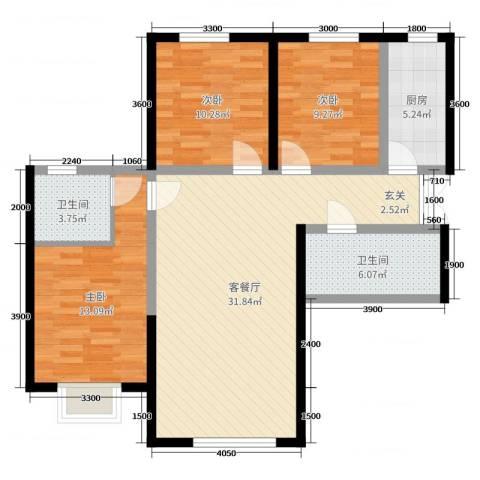 盛达国际新城二期3室2厅2卫1厨118.00㎡户型图