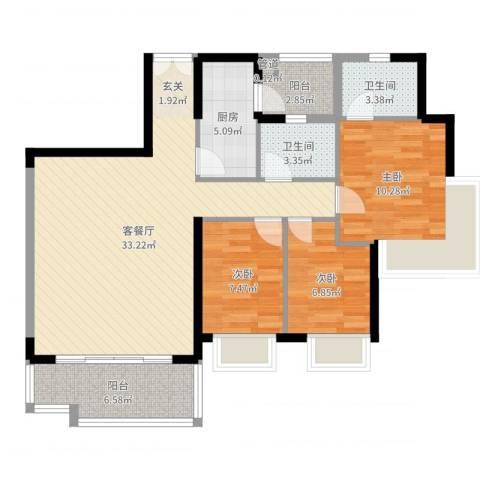豪方悠然居3室2厅2卫1厨99.00㎡户型图