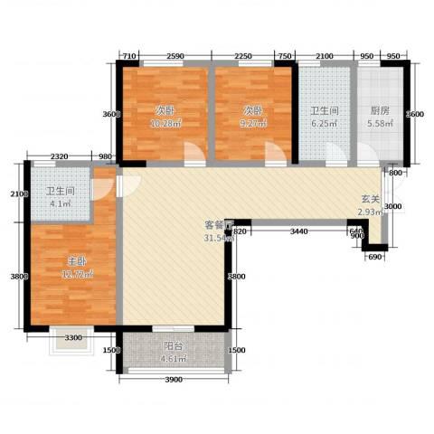 盛达国际新城二期3室2厅2卫1厨117.00㎡户型图