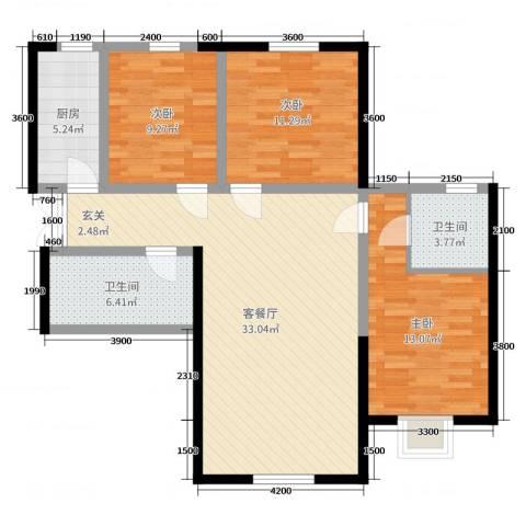 盛达国际新城二期3室2厅2卫1厨120.00㎡户型图