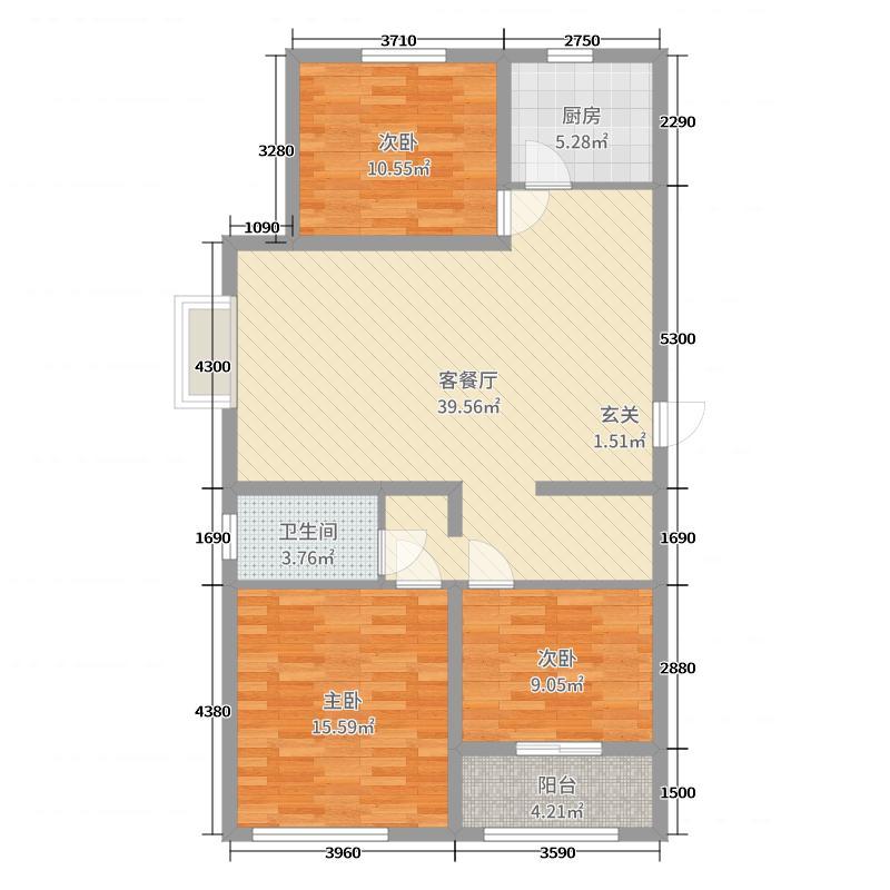 裕昌九州国际110.00㎡户型3室3厅1卫1厨