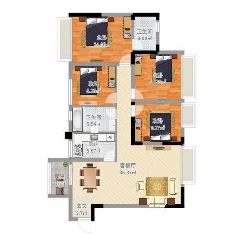 兰乔圣菲4室2厅2卫1厨124.00㎡户型图