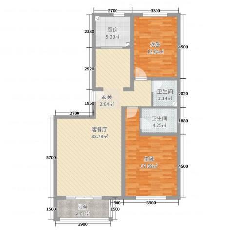梨花江苑2室2厅2卫1厨110.00㎡户型图