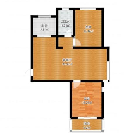 纯棉时代2室2厅1卫1厨93.00㎡户型图