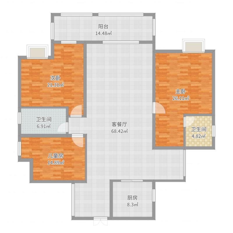 宝庆御园三房二厅140 平方现代风格
