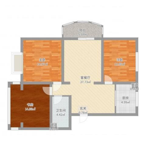 金河湾3室2厅1卫1厨104.00㎡户型图