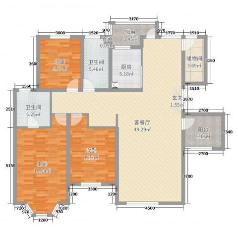 恒泉雅居3室2厅2卫1厨129.00㎡户型图