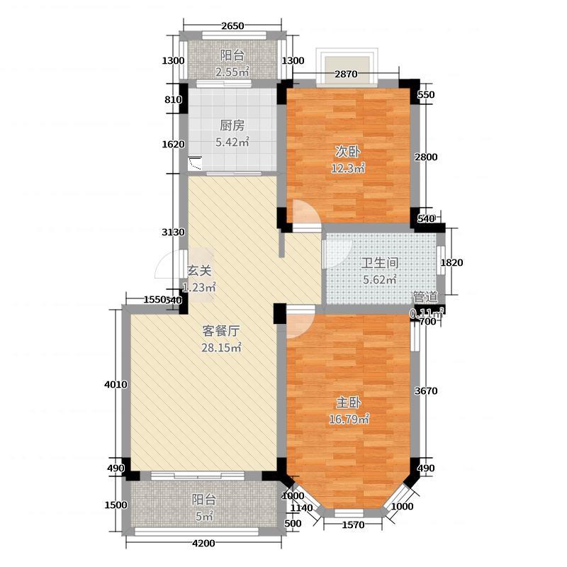 博威・江南明珠苑91.28㎡A2户型2室2厅1卫1厨