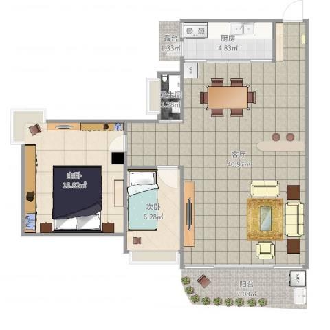 恒星花园2室1厅1卫1厨88.00㎡户型图