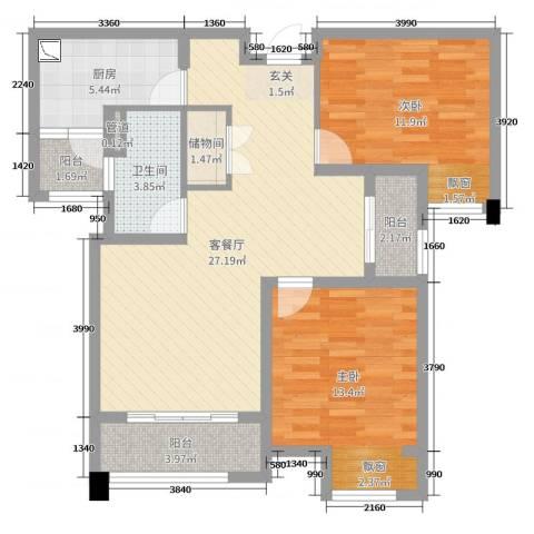 达安上品花园2室2厅1卫1厨71.20㎡户型图