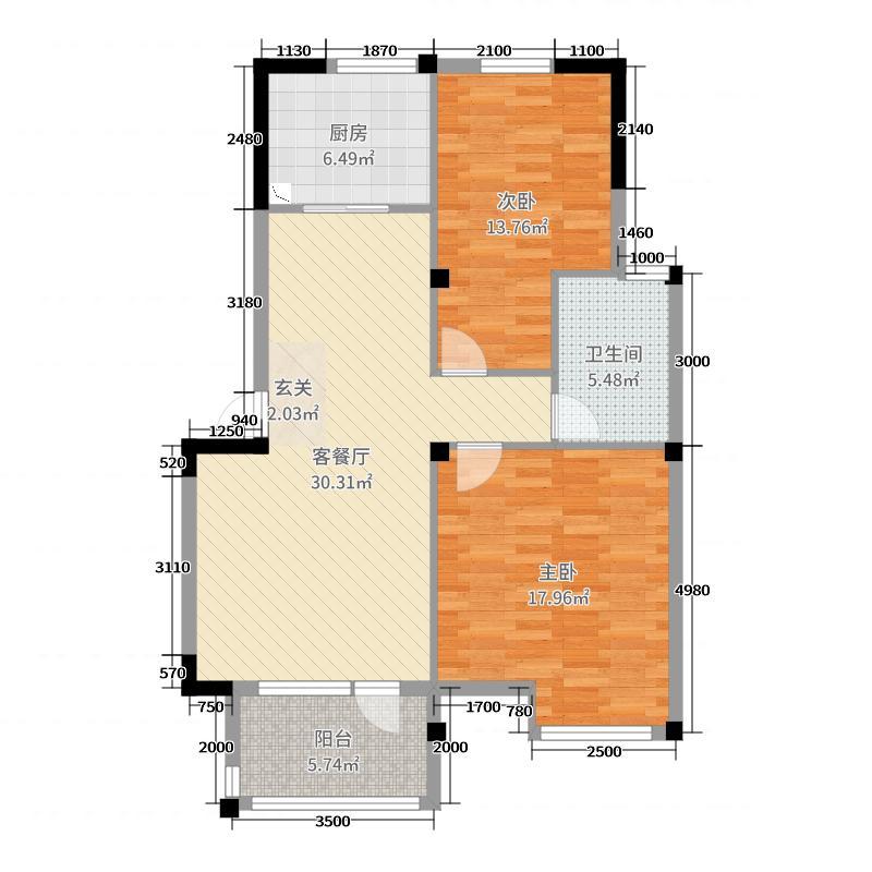 丁香花园玉泉苑99.00㎡多层标准层A1户型2室2厅1卫1厨