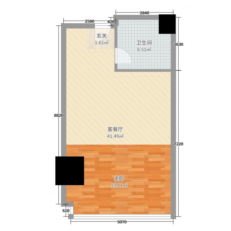 姑苏世茂运河城60.00㎡湖景公寓户型1室1厅1卫1厨