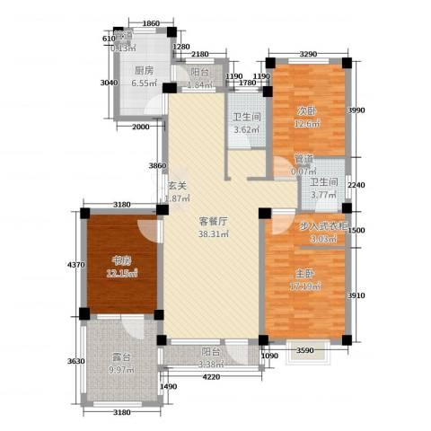 中国城建伦敦公元3室2厅2卫1厨137.00㎡户型图